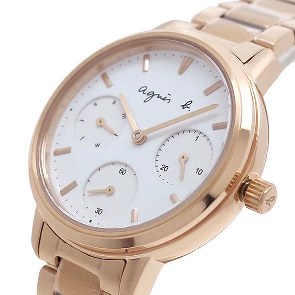 【スーパーSALExポイントアップ】(3/4 20:00~3/11 01:59)【ポイント2倍】(~3/31)【キャッシュレス5%】アニエスベー AGNS B 腕時計 BP6022X1 クォーツ ホワイト ピンクゴールド レディース