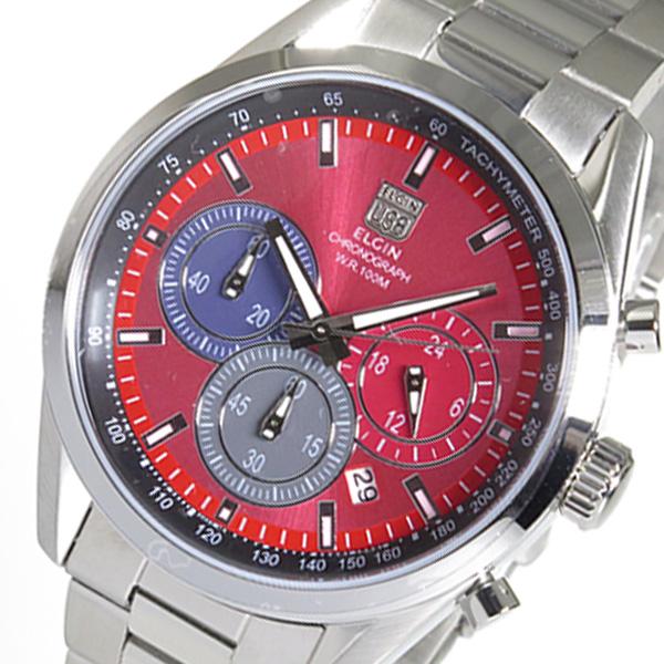 (~8/31) エルジン レッド ELGIN クロノグラフ クオーツ 腕時計 FK1411S-R FK1411S-R レッド クオーツ メンズ, ヤクチョウ:60e46c81 --- officewill.xsrv.jp