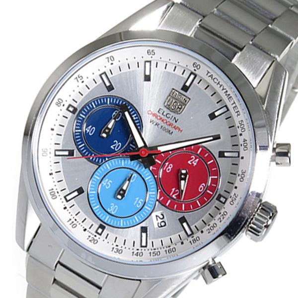 (~8 エルジン FK1411S-S/31) エルジン ELGIN クロノグラフ クオーツ 腕時計 FK1411S-S シルバー シルバー メンズ, 美浜町:47fa468d --- officewill.xsrv.jp