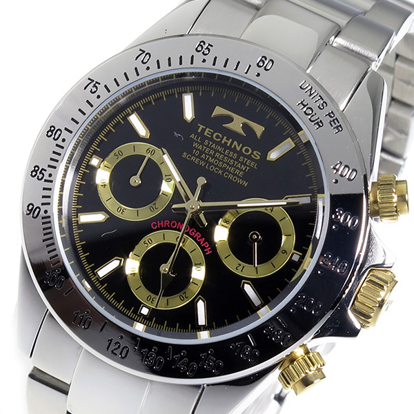 (~8 TECHNOS/31) テクノス TECHNOS クロノグラフ クオーツ クオーツ 腕時計 TSM401LB ブラック TSM401LB メンズ, 作手村:853eebb1 --- officewill.xsrv.jp