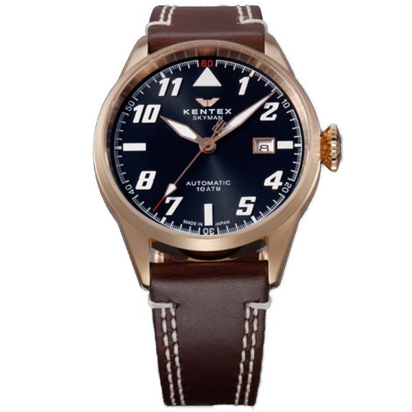 【スーパーSALE】(~9/11 01:59)(~9/30)ケンテックス KENTEX 腕時計 S688X-18 スカイマンパイロットアルファ SKYMAN PILOT ALPHA 自動巻き グレー ダークブラウン 国内正規品 ユニセックス