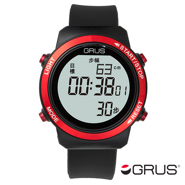 (~8 GRS001-01 腕時計/31) グルス グルス GRUS 歩幅計測機能付 腕時計 万歩計 ウォーキングウォッチ GRS001-01 ブラック/レッド ユニセックス, 森徳蔵:def32c7d --- officewill.xsrv.jp