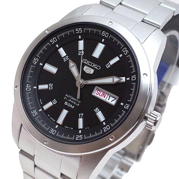 (~4/30)【キャッシュレス5%】セイコー SEIKO 腕時計 SNKN13J1 セイコー5 SEIKO5 自動巻き ブラック シルバー メンズ