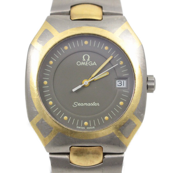 卸売り 送料無料 中古 オメガ シーマスター セール価格 ポラリス K18×チタン クォーツ グレー文字盤 メンズ いおき質店 腕時計