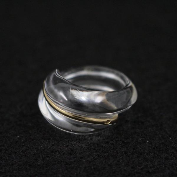 送料無料 中古 Baccarat バカラ コキアージュ リング 指輪 750YG 売れ筋 クリスタル 実寸約9号 いおき質店 イエローゴールド 格安 価格でご提供いたします クリア