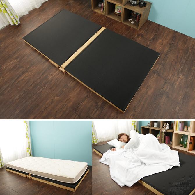 楽天市場】折りたたみベッド 黒畳ベッド 炭入り黒畳 国産 ベッド