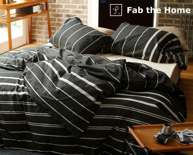 掛け布団カバー ダブル 綿100% モノトーンのヘリンボーンボーダー・ ゼブラノ(Zebrano) コンフォーターカバー 掛けふとんカバー 掛カバー 掛けカバー 掛布団カバー Fab the Home 一人暮らし 新生活