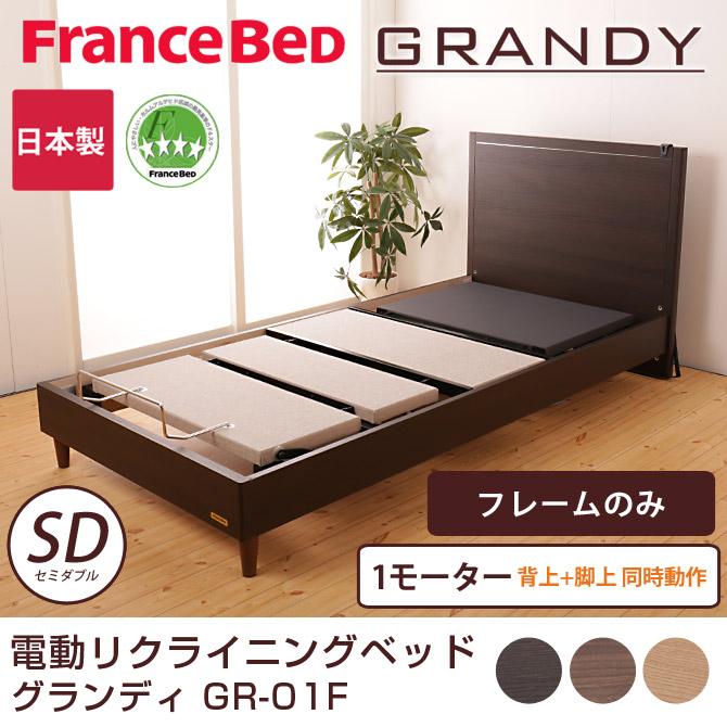 フランスベッド 電動ベッド(GR-01F) 1モーターフレーム フレームのみ セミダブル 背上げと脚上げが同時動作 電動リクライニングベッド 木製ベッド grandy 脚付きベッド francebed 2年保証付 フランスベッド正規品 [fbp06]
