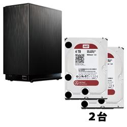 デュアルコアCPU搭載2ドライブ高速NASキット(ドライブレスモデル) WD Redシリーズ 3.5インチ内蔵HDD 4TB SATA6.0Gb/s IntelliPower 64MB IO DATA IPHL2-AA0 と Western Digital WD40EFRX-RT2 のセット