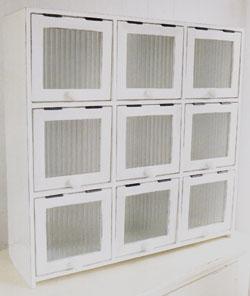 送料無料 9ドアキャビネット(ホワイト) FG-15ナチュラル アンティーク インテリア 家具 小物収納 飾り棚 おしゃれ