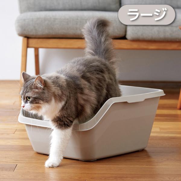 スプレー対策にも!猫砂やおしっこの飛び散りを防止するネコトイレ[猫 ネコ トイレ スプレー対策 飛び散り 飛散ガード 大きめ 深め 高め 洗いやすい おしゃれ おすすめ] 【OFT】HY cat ラージ グレー[猫 ネコ トイレ スプレー対策 飛び散り 飛散ガード 大きめ 深め 高め 洗いやすい おしゃれ おすすめ]
