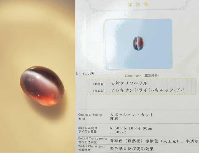 アレキサンドライト キャッツアイ 1.30 カラット 【鑑別証付】