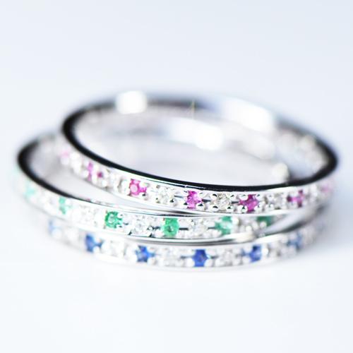 エメラルド ルビー ブルーサファイア フルエタニティー K10イエローゴールド/ホワイトゴールド/ ピンクゴールド 4~13号 (YR-011)YK-J064-1605指輪 エタニティー 永遠