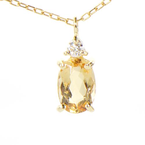 インペリアルトパーズ×ダイヤモンドペンダント トップ K18イエローゴールドYK-BM093CI (YP-126) ネックレス ヘッド ペントップ K18YG 18金 11月誕生石