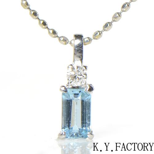 サンタマリアアクアマリン×ダイヤモンド ペンダント トップ K18ホワイトゴールド YK-AY027ヘッド ネックレス  ペントップ K18WG 3月誕生石