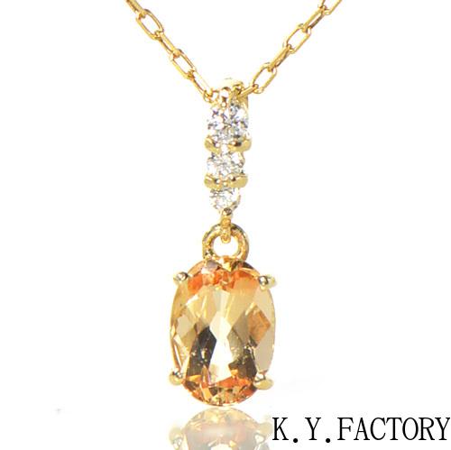 インペリアルトパーズ シェリーカラー ダイヤモンド ペンダント トップ K18イエローゴールドクラルテ YK-BB083CIW  (YP-027/028) ヘッド ネックレス ペントップ K18YG 11月誕生石 レディース ギフト ゴールド