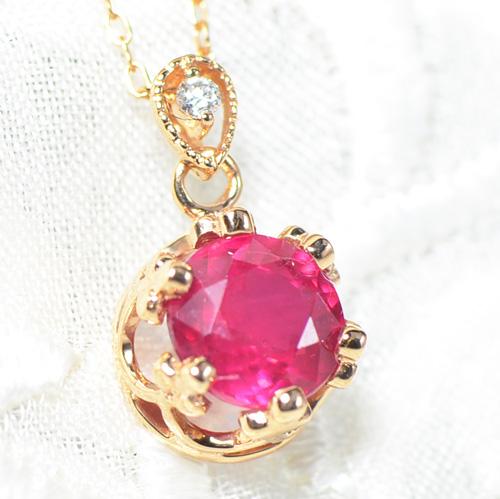 ルビー×ダイヤモンド K18ピンクゴールド ペンダント トップ フォリウム YK-BE054CI YK-X032-1706(YP-155/156)トップ ペントップ K18 PG 18金 7月誕生石  レディース ゴールド ネックレス