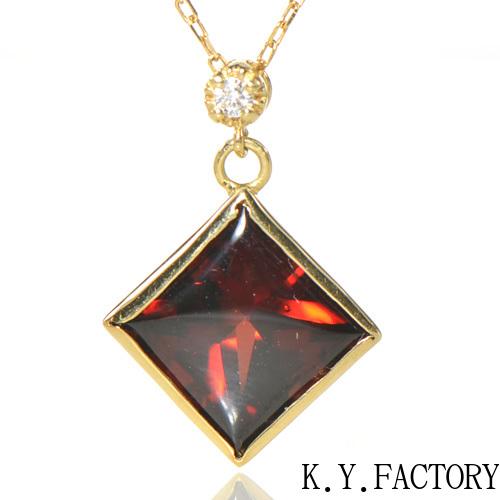 ガーネット ダイヤ ペンダント トップ K18イエローゴールドYK-AS055YKAMCネックレス ヘッド ペントップ K18 18金 1月誕生石