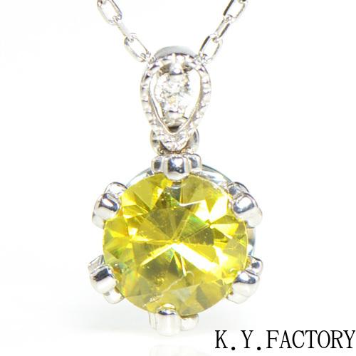 スフェーン×ダイヤモンド ぺンダント トップK18ホワイトゴールドフォリウム YK-AT095CI(8728) トップ ペントップ K18WG 18金 レディース ギフト プレゼント ゴールド ネックレス