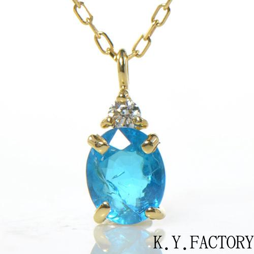 ブルーアパタイト×ダイヤモンド ペンダントトップK18イエローゴールド YK-AW029CI(YP-136)ネックレス トップ ペントップ K18YG 18金 レディース ゴールド