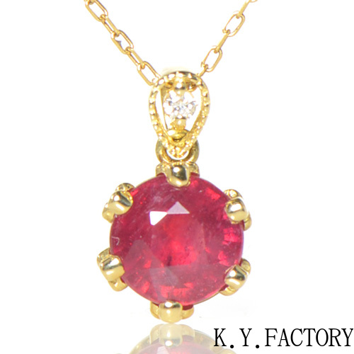 ルビー×ダイヤモンド ペンダン トップ K18イエローゴールド フォリウム YK-BE053 YK-AZ025(YP-155/156)ヘッド ペントップ K18YG 18金 7月誕生石 レディース ギフト プレゼント ゴールド ネックレス