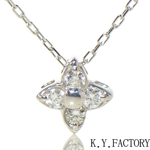 ホワイトダイヤ ペンダント K18ホワイトゴールドブルエ YK-BD015CI(F-PT)ネックレス K18WG レディース ゴールド 4月誕生石