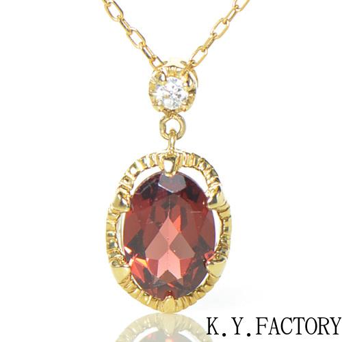 ガーネット ダイヤモンド ペンダント トップK18イエローゴールド  クラウディアYK-BD085CI (YP-066)ヘッド ペントップ ネックレス K18YG 18金 1月誕生石