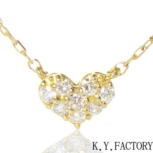 ダイヤモンド ペンダント ハートモチーフK18イエローゴールド/ホワイトゴールド/ピンクゴールド YK-BK036CI(HA-3646)K18 YG WG PG 4月誕生石 パヴェ ネックレス