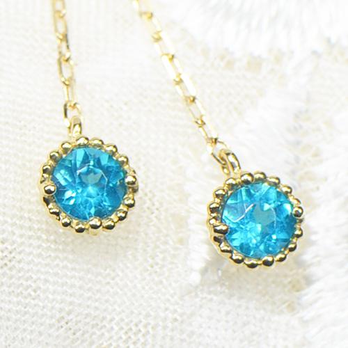 ネオンブルー アパタイト ピアス ロング K18イエローゴールドミル YK-BA012W(YE-018)K18 YG レディース ギフト ゴールド ミルグレイン 一粒 シンプル