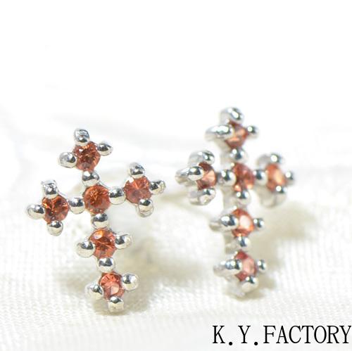 オレンジサファイアK18ホワイトゴールド クロスピアスYK-AP056YKAM(1634)K18WG レディース ギフト 9月誕生石