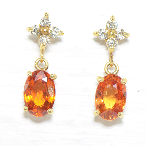 オレンジサファイア×ダイヤモンド ピアス K18イエローゴールド  YK-BE026(9335/4779AB) K18YG 9月誕生石 レディース ギフト K18YG フラワー