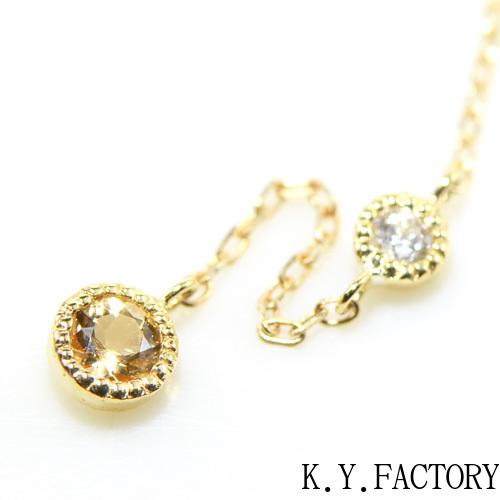 インペリアルトパーズ ×ダイヤモンド シングル(片)ピアス K18イエローゴールド ミル YK-AT088YKAMC(YPG-03/01) K18 YG 指輪 ゴールド 希少石 レアストーン レディース 11月誕生石