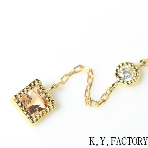 インペリアルトパーズ ×ダイヤモンド シングル(片)ピアス K18イエローゴールド ミル YK-AT09CI(YPG-09/01) K18 YG 指輪 ゴールド 希少石 レアストーン レディース 11月誕生石