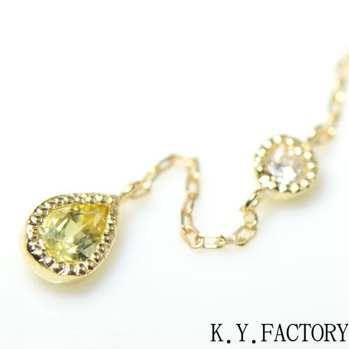 カナリー トルマリン×ダイヤモンド シングル(片)ピアス K18イエローゴールド ミル YK-AT047YKAMC(YPG-11/01) K18 YG 指輪 ゴールド 希少石 レアストーン レディース 12月誕生石