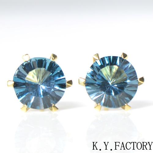 ロンドンブルートパーズ ピアス K18 イエローゴールド YK-BL039CI28(YEG-04) YK-AZ022 一粒 シンプル レディース ギフト K18YG 11月誕生石