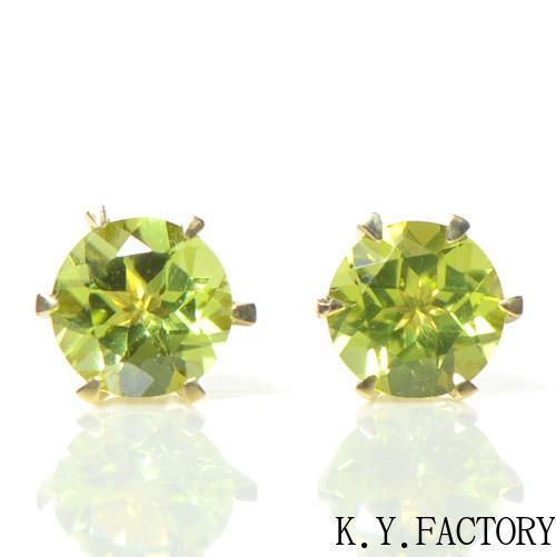 ペリドット ピアス K18イエローゴールド YK-AU064 (YE-016) 大粒 K18 YG レディース ギフト ゴールド 一粒 シンプル 8月誕生石