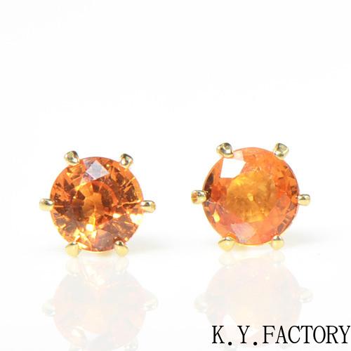 オレンジサファイア ピアス K18イエロートゴールド  YK-AY080(YE-02 1474)K18YG 9月誕生石
