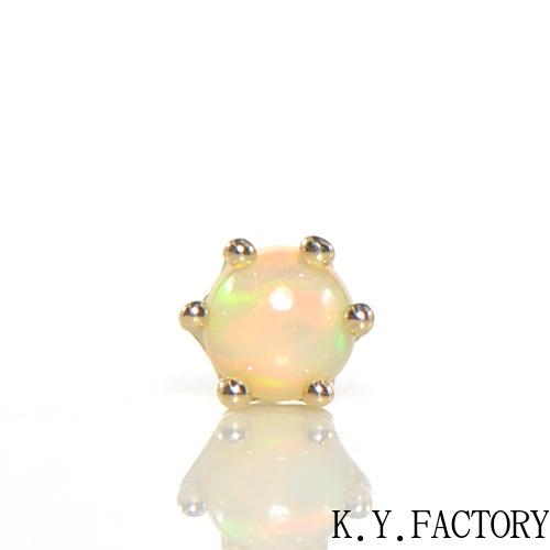 エチオピアンオパール シングル(片)ピアス K10イエローゴールドミルククラウン YK-BA046CI2(YE-014) K10YG 10月誕生石 レディース ゴールド 一粒 シンプル カボション