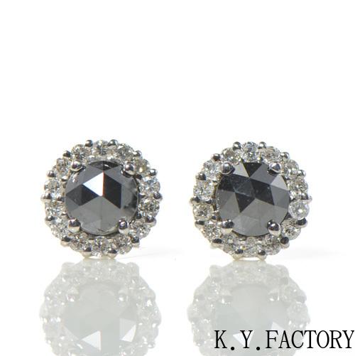 ブラックダイヤ ローズカット×ホワイトダイヤ ピアス K18ホワイトゴールド YK-BB029 (9929)K18WG 4月誕生石  レディース ギフト