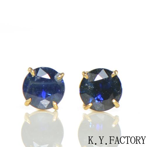 ブルーサファイア ピアス K18イエローゴールドK18YG 9月誕生石 レディース ゴールド 一粒 シンプル YK-BE009