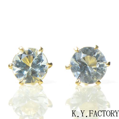 アクアマリン大粒 ピアスK18イエローゴールド YK-BE023(YE-0013/7727)K18YG 3月誕生石 レディース ゴールド 一粒 シンプル