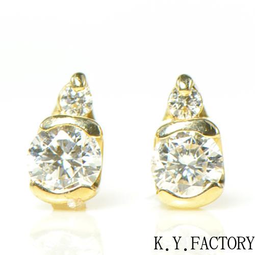 ダイヤ ピアス K18イエローゴールドドゥ YK-AU060CI(YE-027)K18YG 4月誕生石 レディース ギフト プレゼント ゴールド