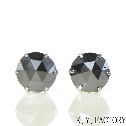 ブラック ダイヤモンド ピアス プラチナ900YK-BG024レディース メンズ ゴールド ギフト 一粒 シンプル Pt900 4月誕生石 ローズカット 大粒
