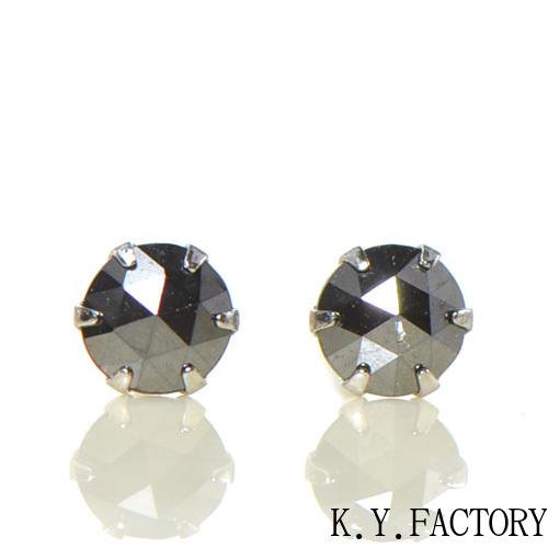 ブラック ダイヤモンド ピアス プラチナ900YK-BG025CI28 レディース メンズ ゴールド ギフト 一粒 シンプル Pt900 4月誕生石 ローズカット
