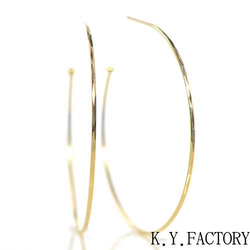 K18ゴールド フープ ピアス 直径:約35mmK18YG レディース ゴールド シンプル ギフト プレゼント YK-BG001CI28