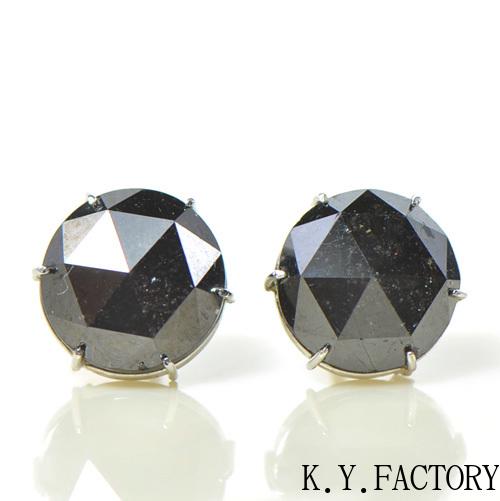 ブラックダイヤモンド 8.3mmK18ホワイトゴールド ピアス YK-BG077CI286本爪 K18WG 4月誕生石 ローズカット