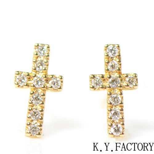 ダイヤモンド クロスモチーフ ピアス K18イエローゴールドYK-BK031CI レディース ゴールド 一粒 シンプル ギフト プレゼント 4月誕生石