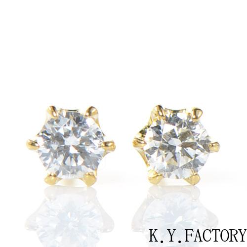 ダイヤモンド ピアス 0.22cts K18イエローゴールドYK-BM004CI (YE-01) K18 YG 4月誕生石 レディース ギフト プレゼント 一粒 シンプル