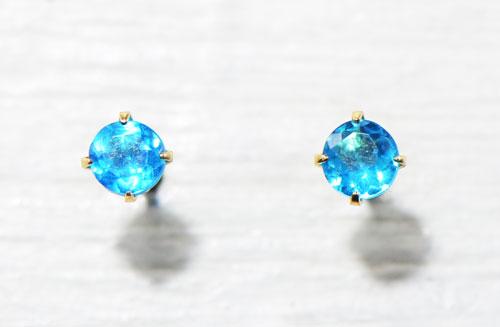 ネオンブルーアパタイト  ピアス K10イエローゴールドS-G004 一粒 シンプル ギフト プレゼント ブルーアパタイト