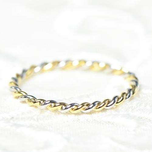 ひねりリングK18イエローゴールド プラチナK18YG 指輪  レディース ギフト ゴールド 一粒 シンプル ひねり ツイスト太目ペア ペアリング マリッジリング ブライダルYK-AD004-1710 YKAM